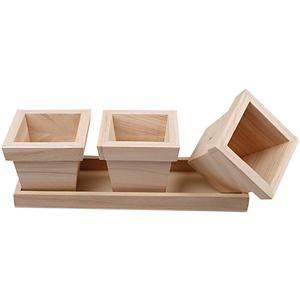 Glorex Кашпо 3 шт деревянные 20х7х6 см 61684121