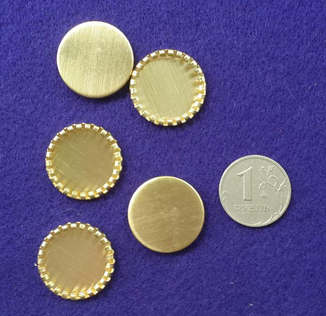 Основа под кабашон круглая форма, жёлтый металл 22мм. 5шт