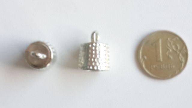 Концевик-шапочка для бус. пластик под серебро d10мм, 2шт арт. 2-24