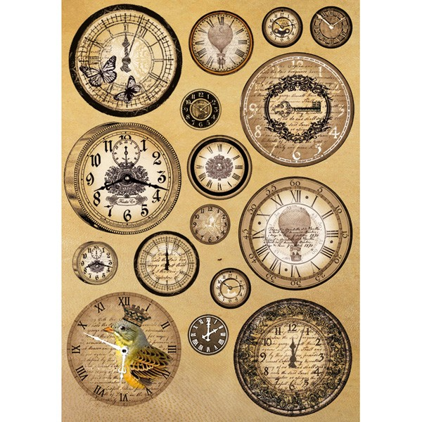 "Stamperia Бумага рисовая для декупажа DFSA4093, ""Старинные часы"", 21 х 29,7 см (А4), 28 г"