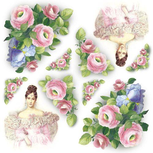 """Stamperia Салфетка рисовая DFT209 для декупажа , 1 лист, 50х50см """"Цветы и леди"""""""