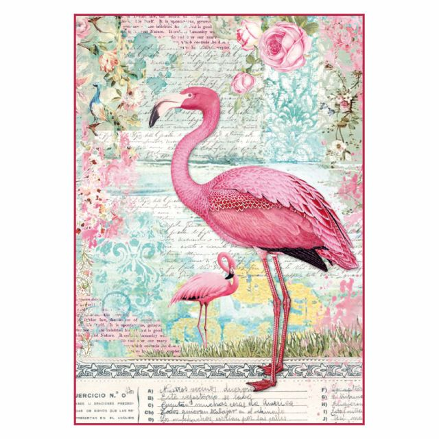 "Stamperia Бумага рисовая мини - формат DFSA4273 ""Розовый фламинго"", 21 х 29,7 см (А4), 28 г/м²"