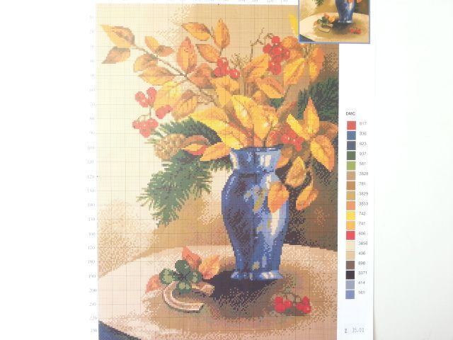 """Схема для вышивания ДК-132 """"Рябина в вазе"""""""