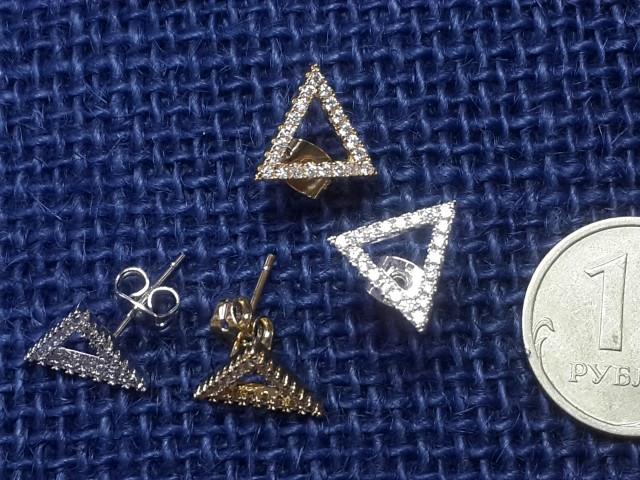 """Заготовка для серёжек гвоздик """"Треугольник-рамка с кристалл"""" с заглушкой покрытие родий/позолота 2шт"""