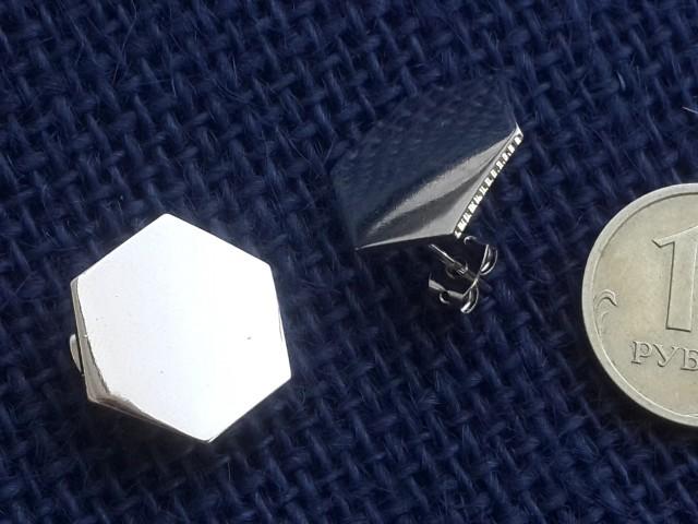 """Заготовка для серёжек гвоздик """"шестиугольник"""" 20мм с заглушкой покрытие родий/позолота 2шт"""