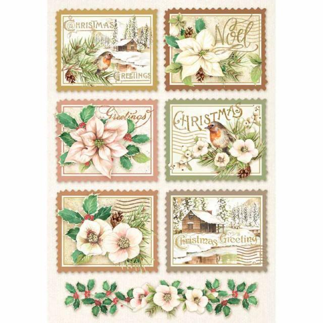 """Stamperia Бумага рисовая мини - формат DFSA4342 """"Зимняя ботаника, почтовые марки"""", 21 х 29,7 см (А4"""