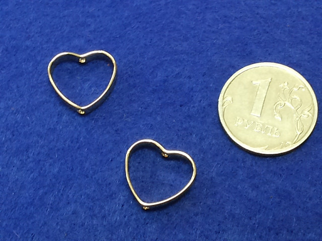 "Коннектор ""Сердечко рамка"" металл позолота 15х15мм 2шт"