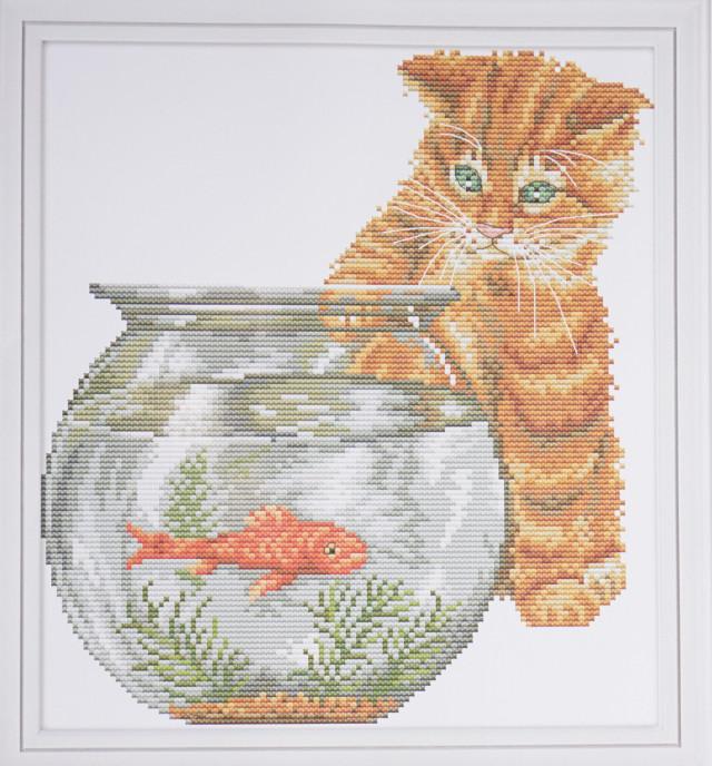 """NKF Набор для вышивания DA262 """"Котёнок и рыбка""""  36х39см"""