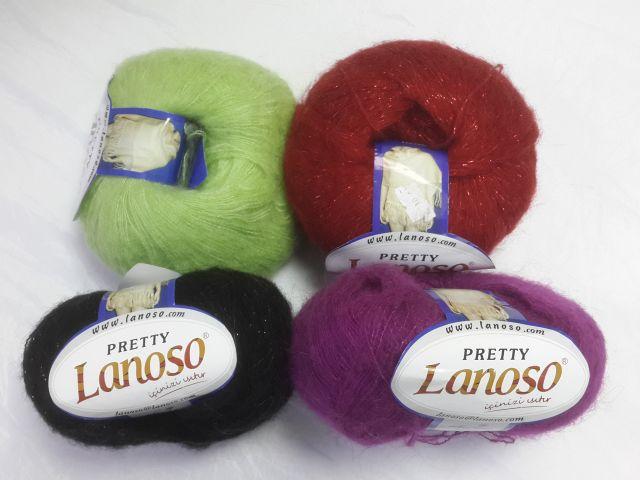 Lanoso Пряжа Pretty 50гр, 500м, 49%мохер, 26%акрил, 25%полиамид.