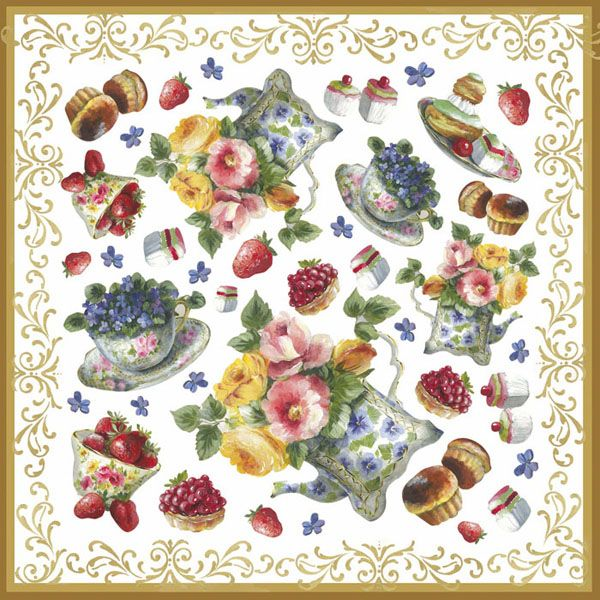 "Stamperia Салфетка рисовая DFT219 для декупажа , 1 лист, 46х33см ""Чайник и цветы"""